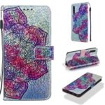 Printing Glitter Sequins Leather Shell for Samsung Galaxy A50/A50s/A30s – Mandala Flower