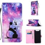 Pattern Printing PU Leather Wallet Phone Cover for Samsung Galaxy A80/A90 – Panda