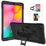 360° Swivel Handy Strap PC Silicone Combo Kickstand Tablet Shell with Shoulder Strap for Samsung Galaxy Tab A 10.1 (2019) SM-T510 (Wi-Fi)/SM-T515 (LTE) – Black