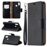 Litchi Skin Leather Wallet Stand Case for Samsung Galaxy A10s – Black