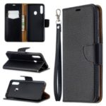 Litchi Skin Stand Leather Wallet Case for Samsung Galaxy A20s – Black