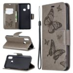 Imprint Butterfly Leather Wallet Case for Samsung Galaxy A10s – Grey