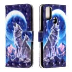 Light Spot Decor Pattern Printing Wallet Leather Phone Cover with Strap for Samsung Galaxy M30s – Moon and Wolf