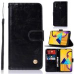Retro Premium PU Leather Wallet  Covering with Stand for Samsung Galaxy M30s – Black