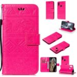 Imprint Elephant Leather Wallet Case for Samsung Galaxy A10s – Rose