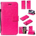 Imprint Elephant Leather Wallet Stand Case for Samsung Galaxy A20s – Rose