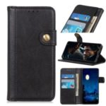 Single Brass Buckle Litchi Texture Leather Wallet Phone Case for Samsung Galaxy A70s – Black