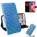 Shiny Sparkle Leather Wallet Stand Case for Samsung Galaxy A20s – Blue
