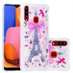Liquid Glitter Powder Patterned Shockproof Quicksand TPU Case for Samsung Galaxy A20s – Eiffel Tower with Bowknot