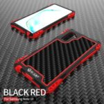 R-JUST ShocKproof Carbon Fiber Texture Silicone + Metal Phone Cover for Samsung Galaxy Note 10/Note 10 5G – Black/Red