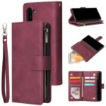 Zipper Pocket Multiple Card Slots Leather Stand Case for Samsung Galaxy Note 10 5G / Note 10 – Wine Red