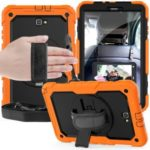 Handy Strap PC Silicone Kickstand Case with Shoulder Strap + Screen Protector for Samsung Galaxy Tab A 10.1 (2016) T580 – Orange/Black