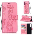 Imprint Tiger Wallet Stand Leather Phone Cover for Sony Xperia 5 – Pink