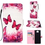 Unique Printing Light Spot Decor Leather Wallet Case for Sony Xperia 20 – Butterfly and Flower
