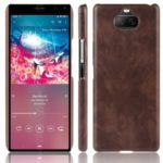 Litchi Surface PU Leather Coated PC Shell Casing for Sony Xperia 8 – Brown