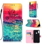 Pattern Printing Light Spot Decor Leather Wallet Case for LG W10 – Never Stop Dreaming
