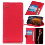 Retro Wallet Leather Stand Phone Cover Case for LG K30 (2019) – Red