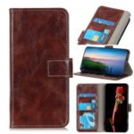 Crazy Horse Leather Wallet Stand Phone Shell Case for LG K20 (2019) – Brown