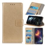 Litchi Skin Leather Phone Wallet Shell for LG K20 (2019) – Gold