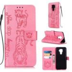 Imprint Tiger Wallet Stand Leather Phone Casing for Huawei Mate 30 Lite/Nova 5i Pro – Pink