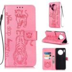 Imprint Tiger Wallet Stand Leather Phone Shell for Huawei Mate 30 – Pink