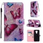 Pattern Printing Glitter Sequins Leather Casing for Huawei Mate 30 Lite/nova 5i Pro – Butterfly