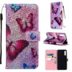 Pattern Printing Glitter Sequins Leather Wallet Stand Case for Huawei Honor 9X / 9X Pro – Butterfly