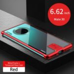 LENUO Leshield Series Metal Frame + Hard Glass Back Cell Case for Huawei Mate 30 – Red