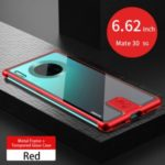 LENUO Leshield Series Metal Frame + Hard Glass Back Mobile Case for Huawei Mate 30 5G – Red