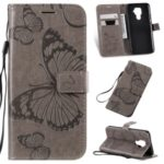 Imprint Butterflies Pattern Wallet Stand Leather Phone Cover with Lanyard for Huawei Mate 30 Lite/Nova 5i Pro – Grey