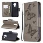 Imprint Butterfly Leather Wallet Stand Case for Huawei Mate 30 Lite / nova 5i Pro – Grey