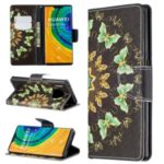 Pattern Printing Wallet Stand Flip Leather Case for Huawei Mate 30 Pro – Metal Butterflies