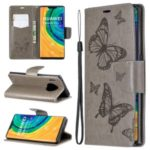 Imprint Butterfly PU Leather Wallet Case for Huawei Mate 30 Pro – Grey