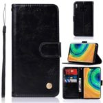Premium Vintage Retro Leather Wallet Case Shell for Huawei Mate 30 Pro – Black