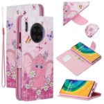 Pattern Printing Leather Wallet Phone Cover Case for Huawei Mate 30 Pro – Elephant