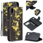Pattern Printing Leather Wallet Phone Cover Case for Huawei Honor 8S / Y5 (2019) – Gold Butterfly