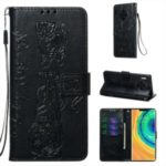 Imprint Tiger Wallet Stand Leather Phone Case for Huawei Mate 30 Pro – Black
