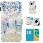 Pattern Printing Leather Wallet Phone Case for Huawei Mate 30 Pro – Feather Dream Catcher