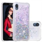 Dynamic Glitter Powder Heart Shaped Sequins TPU Shockproof Case for Motorola Moto E6 – Silver/Heart