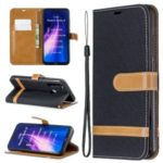 Assorted Color Jeans Cloth Leather Wallet Shell for Xiaomi Redmi Note 8 – Black