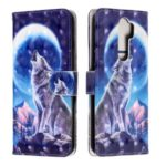 Light Spot Decor Pattern Printing Wallet Leather Phone Cover with Strap for Xiaomi Redmi Note 8 Pro – Wolf and Moon