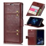 Rivet Decorated Crazy Horse Leather Wallet Stand Case for Xiaomi Redmi 8A – Brown