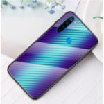 Carbon Fiber Texture Tempered Glass Phone Case Covering for Xiaomi Redmi Note 8 – Blue Fiber