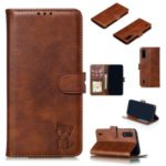 Imprinted Cat Pattern Leather Wallet Stand Casing for Xiaomi Mi CC9e / Mi A3 – Coffee