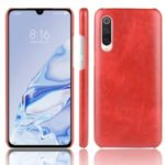 Litchi Texture Surface Leather Coated Hard PC Phone Case for Xiaomi Mi 9 Pro 5G – Red