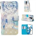 Pattern Printing PU Leather Wallet Phone Case with Strap for Xiaomi Redmi Note 8 Pro – Grey Dream Catcher