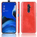 Litchi Skin Leather Coated Hard PC Shell Case for OPPO Reno 2F/Reno 2Z – Red