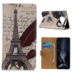 Pattern Printing PU Leather Wallet Stand Phone Case for OnePlus 7T – Eiffel Tower and Letters