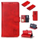 Imprinted Cat Pattern Magnetic Leather Wallet Case for Nokia 4.2 (2019) – Red