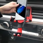 Mobile Support Mobile Phone Gravity Bracket Car Air Vent Mount for Audi A4L/A5 – Red